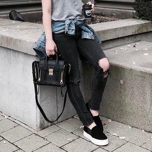 Vince Shoes - Vince Black Suede Platform Slip On Sneakers