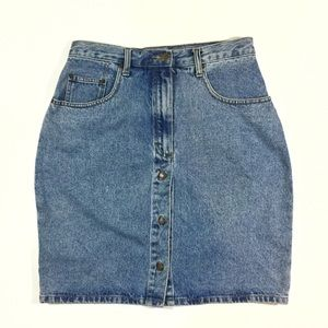 Vintage Dresses & Skirts - VTG 80s Jordache Fitted Button Front Denim Skirt