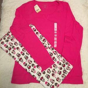Intimate Essentials Other - NWT 🛋Intimate Essentials Pink Owl Knit PJ Set 🛏