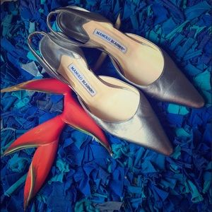 Manolo Blahnik Shoes - MANOLO BLAHNIK silver kitten heel slingbacks