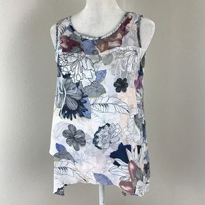 Cable & Gauge Tops - Graphic Floral Sleeveless Tunic Asymmetrical Tank