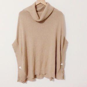 LOFT Sweaters - LOFT Tan Cowl Neck Poncho Sweater