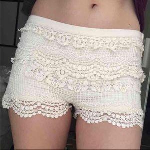 Pins & Needles Pants - 🍒PINS AND NEEDLES WHITE CROCHET SHORTS🍒