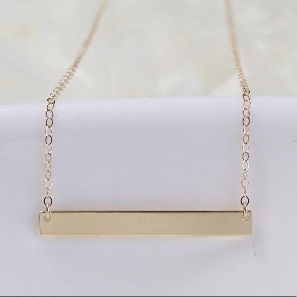 14k gold filled horizontal bar necklace handmade from. Black Bedroom Furniture Sets. Home Design Ideas