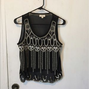Size small black and silver top