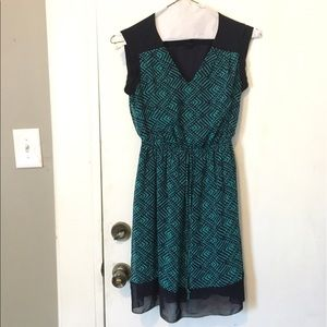 Fun patterned teal dress