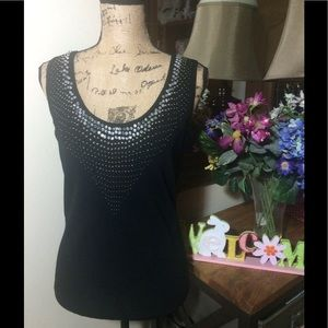 Cache Tops - Cache Black Sleeveless Top w/Jeweled Front