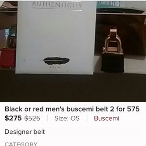 Buscemi Accessories - Two men's buscemi belts in red and black