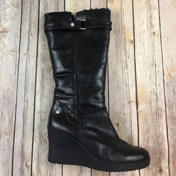 black ugg boots with wedge heel