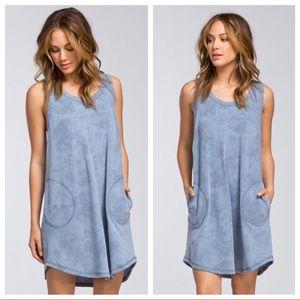 Blue Pocketed Dress
