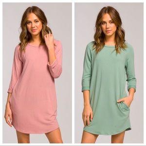Dusty Pink Raglan Dress