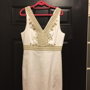 Lilly Pulitzer white dress gold embroidery size 8.