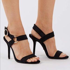 Topshop Shoes - NIB Topshop Renee black Velvet 2 part sandal
