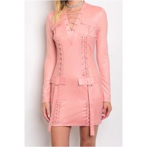 Dresses & Skirts - New Arrival! Blush Lace Up Bodycon Dress