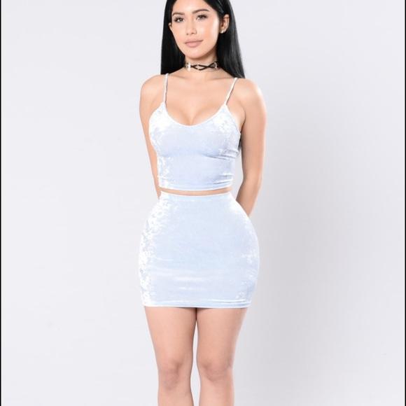 05205ada40024 Fashion Nova Dresses & Skirts - Light Blue Crushed Velvet 2pc Mini Skirt &  Top
