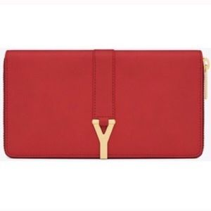 Yves Saint Laurent Red Calf Skin Leather Wallet