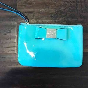 kate spade Handbags - Kate Spade patent leather turquoise wristlet mint