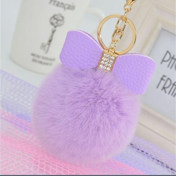 73 off accessories purple fur pom pom keychain purse. Black Bedroom Furniture Sets. Home Design Ideas