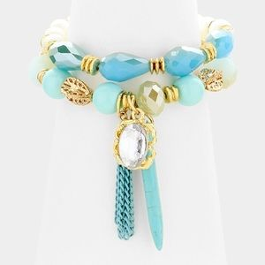 Beaded Tassel Bracelet Set