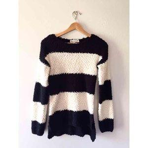 B& W Striped Fleecy Oversized Sweater