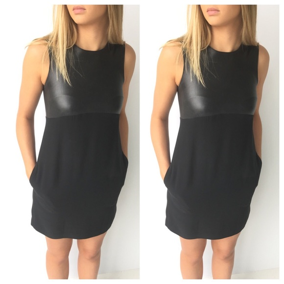 10e4ff55bf1 Vince Leather Silk Panel Sleeveless Dress. M_5900bee9f0137d8e7a01b823