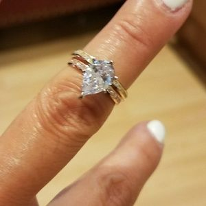 Jewelry - 14k Yellow or Rose Gold Pear Engagement Ring 2pc