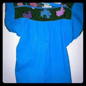 Hand Woven Mexican Blouse-Medium