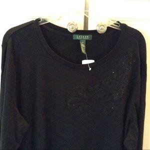 NWT Gorgeous Black Lauren Embellished Top