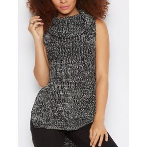 Black Marled Cowl Neck Sweater
