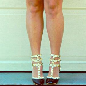 Shoes - Faux Leather Rockstar Studded Pumps