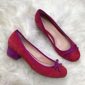 Sole Society Shoes - Sole Society Celine Colorblock Suede Low Heel Pump