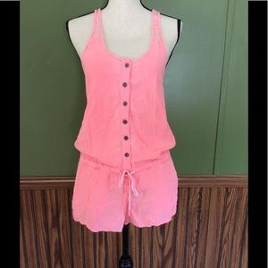 PINK Victoria's Secret Other - Neon pink lace romper button up PINK