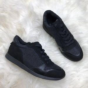 Express Shoes - Express Black Faux Suede Leather Lace Up Sneakers