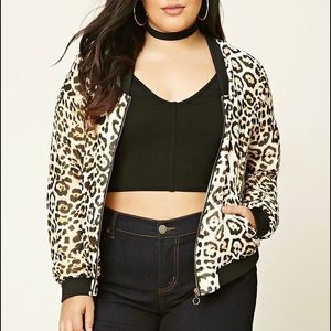 Forever 21 Plus Cheetah Print Bomber Jacket