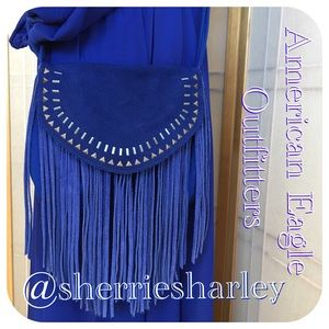 American Eagle Outfitters Handbags - Blue Suede Bohemian Fringed Cross-body AE