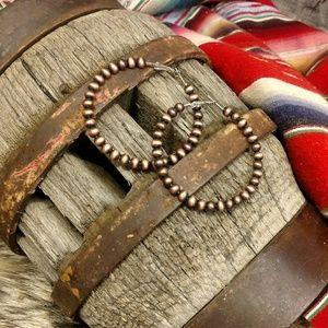 Jewelry - Large Western Navajo Copper Pearl Hoops