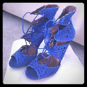Cobalt blue lace up suede heels