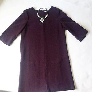 LOFT Plum Shift 3/4 Length Sleeve Dress