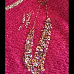 Jewelry - Pink orange and gold necklace and earrings!!!!!