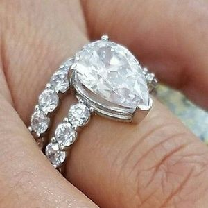 14k Solid White Gold Engagement Ring&Wedding Band