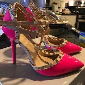 Shoes - Hot pink rock stud heels