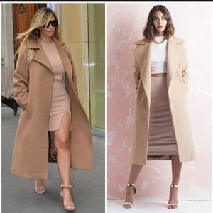Missguided Jackets & Blazers - Missguided beige long coat
