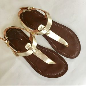 NEW MATISSE ITALY leather thong sandals gold 8M