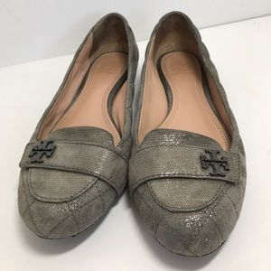 """Tory Burch Shoes - Tory Burch """"Lelia""""  Gray Quilted Metallic Loafers"""