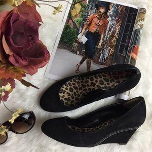 Franco Sarto Shoes - Franco Sarto Black Suede Wedge Heel