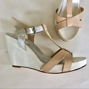 NEW DUNE leather wedge sandals silver white tan 10