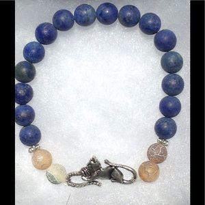 PeaceFrog Jewelry - Lapis Lazuli Coffee Agate Cat Bracelet