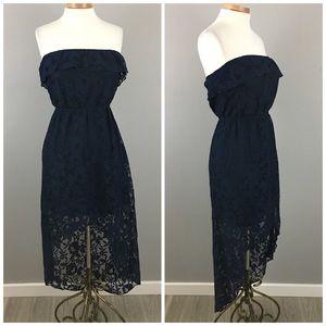 Trixxi Dresses & Skirts - Trixxi Navy Lace Hi Lo Stretch Dress