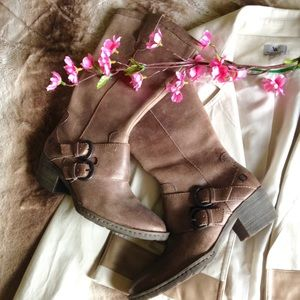 Born Shoes - Born Distressed Buckled Leather Boots