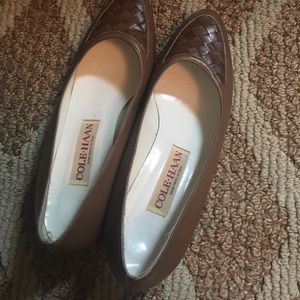 Cole Haan vintage leather flats Italy woven 💜sale